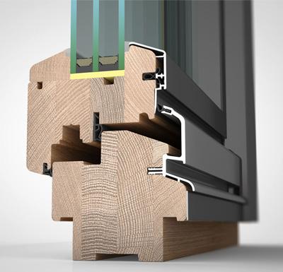 Ansicht von schräg aussen, Holzfenster HW97 mit wetterfester Schale