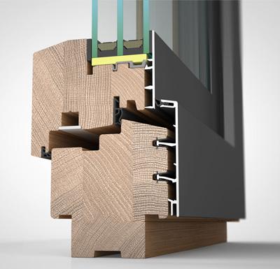 Ansicht von schräg aussen, Holz-/Alufenster HA87M