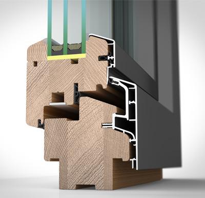 Detailansicht außen Holz-/Alufenster HA87