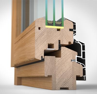 Detailansicht innen Holz-/Alufenster HA87