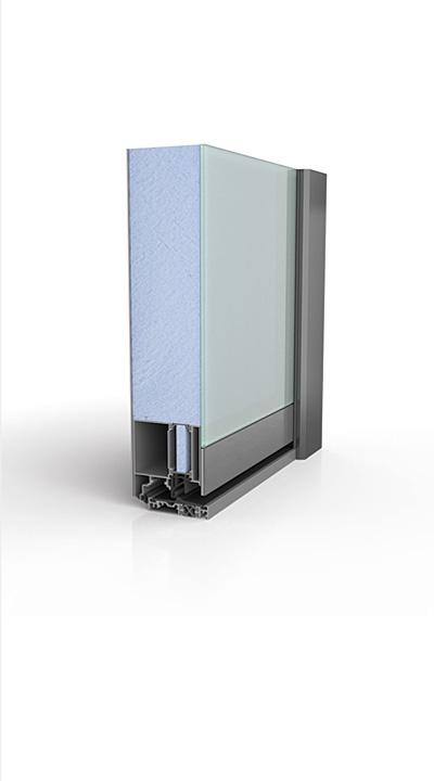 Querschnitt Ganzglashaustür - Ausführung: Beidseitig (innen + außen) flügelüberdeckend