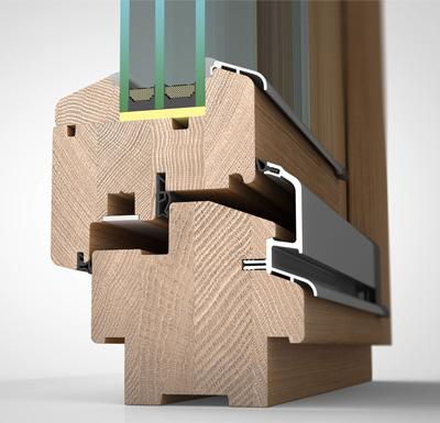 Ansicht von schräg aussen, Holzfenster H90 mit 3fach-Wärmeschutzverglasung