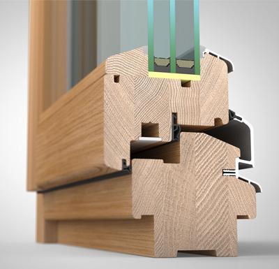 Ansicht von schräg innen, Holzfenster H90 mit 3fach-Wärmeschutzverglasung