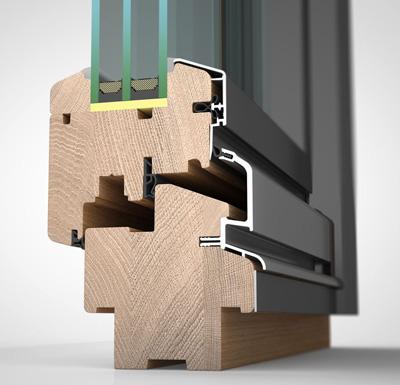 Detailansicht außen, Holz/Alu-Fenster wetterfeste Schale HW87