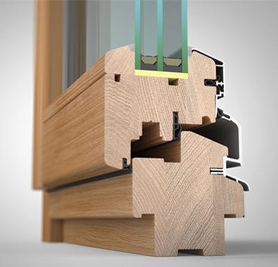 Detailansicht innen, Holz/Alu-Fenster wetterfeste Schale HW87