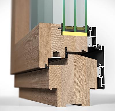 Detailansicht innen Holz/Alu-Fenster HA109MV flächenversetzt