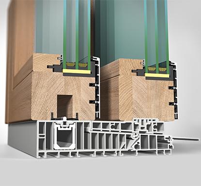 Ansicht von schräg innen, Hebeschiebetüre Holz/Aluminium HA97