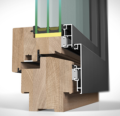 Detailansicht außen Holz/Alu-Fenster HA109MV flächenversetzt