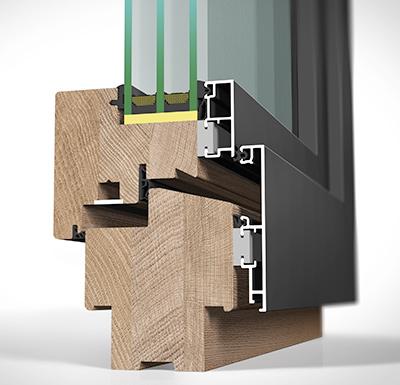 Detailansicht außen Holz/Alu-Fenster HA97MV flächenversetzt